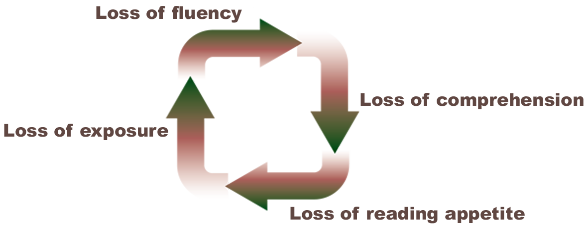 Diagram illustrating the negative spiral induced by lack of fluency.