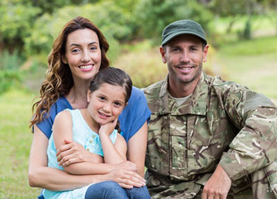 Photo of a soldier and his family.