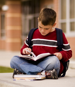 Photo showing an Elementary School boy reading.